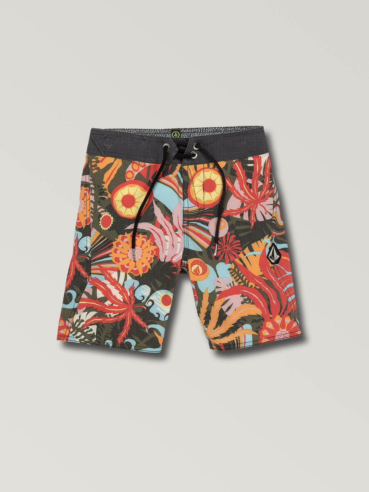 Little Boys Tripped Boardshorts In Dark Olive, Front View
