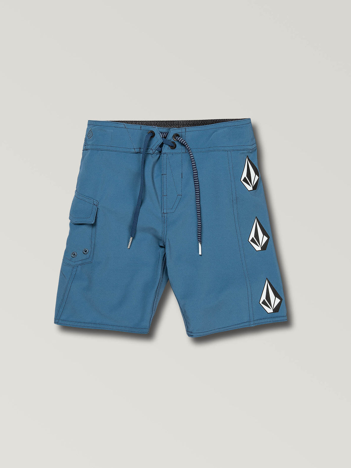 Little Boys Deadly Stones Mod Boardshorts In Airforce Blue, Front View