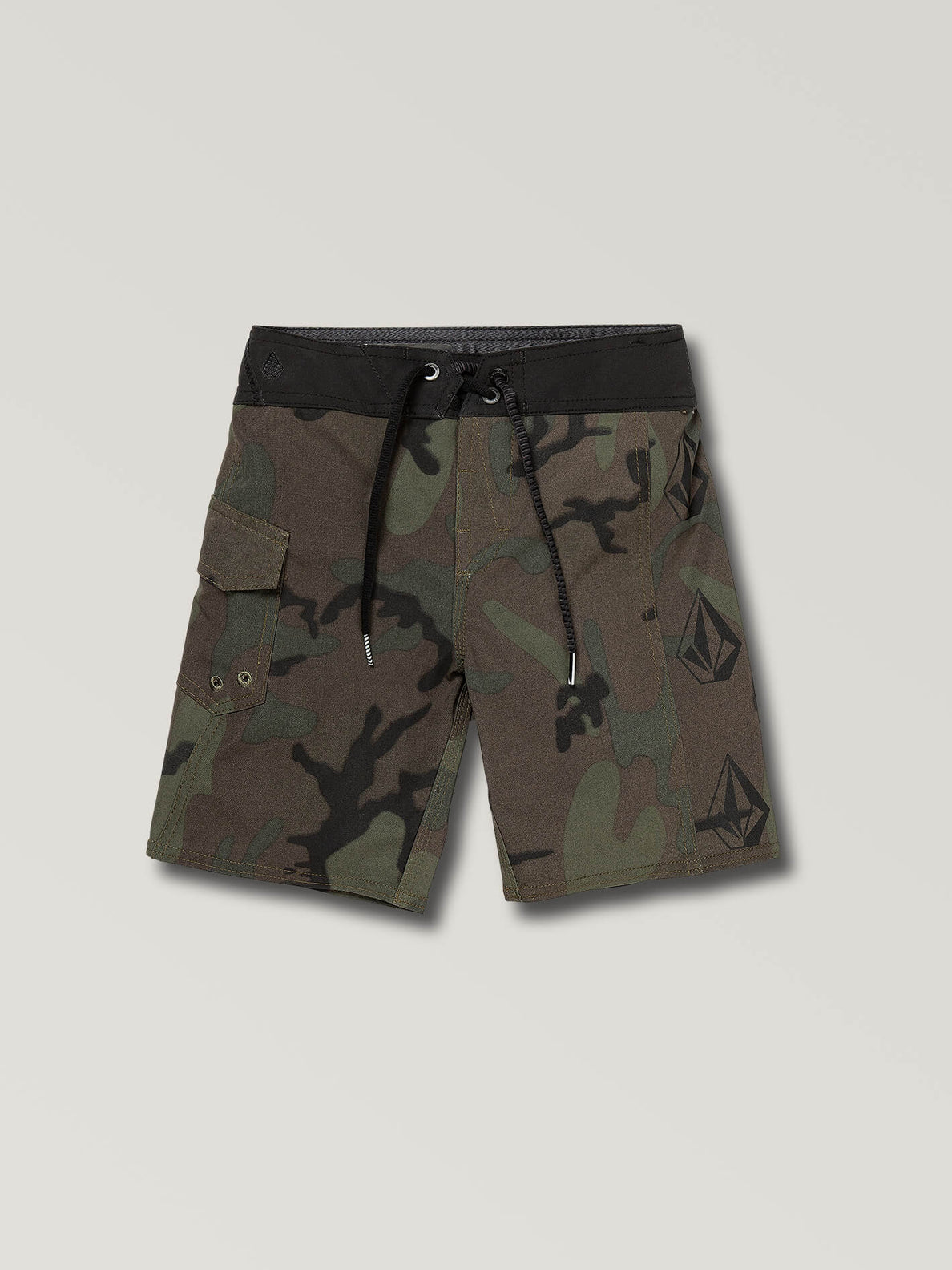 Little Boys Deadly Stones Mod Boardshorts In Camouflage, Front View