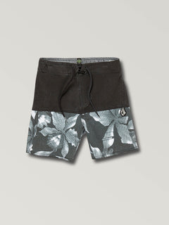Little Boys Vibes Boardshorts In Black White, Front View