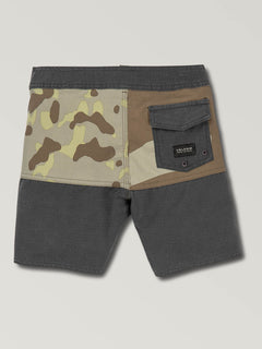 Little Boys Vibes Boardshorts In Camouflage, Back View