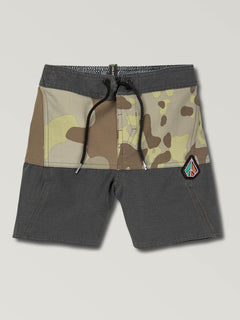 Little Boys Vibes Boardshorts In Camouflage, Front View