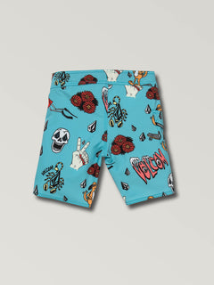 Little Boys Rad Times Mod Boardshorts In Cyan Blue, Back View