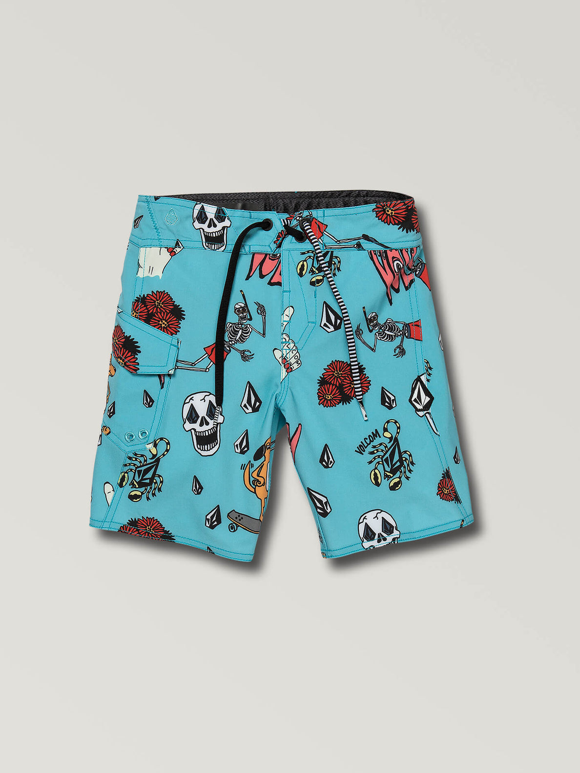 Little Boys Rad Times Mod Boardshorts In Cyan Blue, Front View