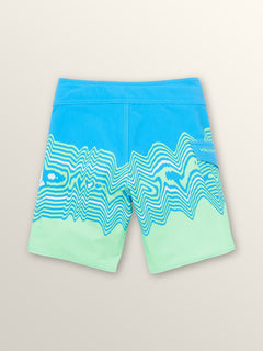 Little Boys Lido Vibes Mod Boardshorts In Free Blue, Back View