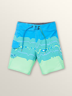 Little Boys Lido Vibes Mod Boardshorts In Free Blue, Front View