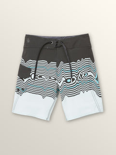 Little Boys Lido Vibes Mod Boardshorts In Stealth, Front View