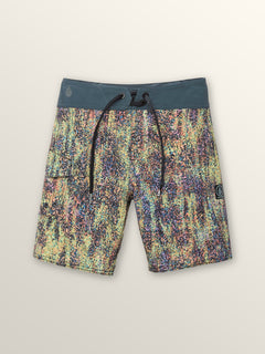 Little Boys Plasm Mod Boardshorts In Stealth, Front View