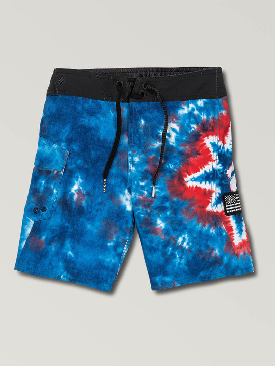 Little Boys Peace Mod Boardshorts In Indigo, Front View