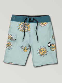 Little Boys Peace Stones Mod Boardshorts In Sea Glass, Front View
