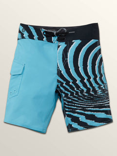 Little Boys Lido Block Mod Boardshorts In Blue Bird, Front View