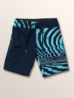 Little Boys Lido Block Mod Boardshorts In Melindigo, Front View