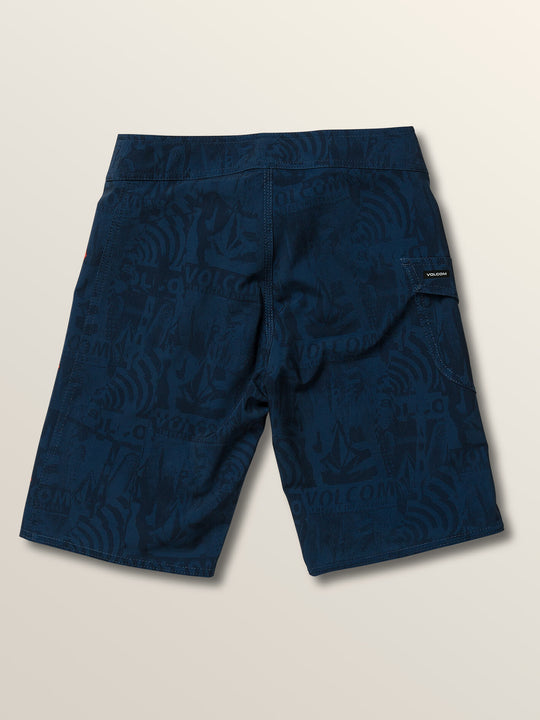 Little Boys Deadly Stones Mod Boardshorts In Melindigo, Back View