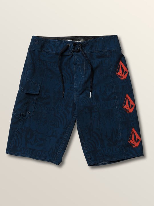 Little Boys Deadly Stones Mod Boardshorts In Melindigo, Front View