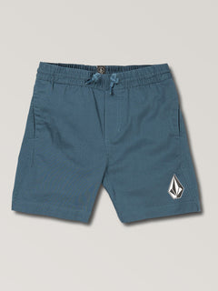 Little Boys Deadly Stone Fleece Shorts In Sea Navy, Front View