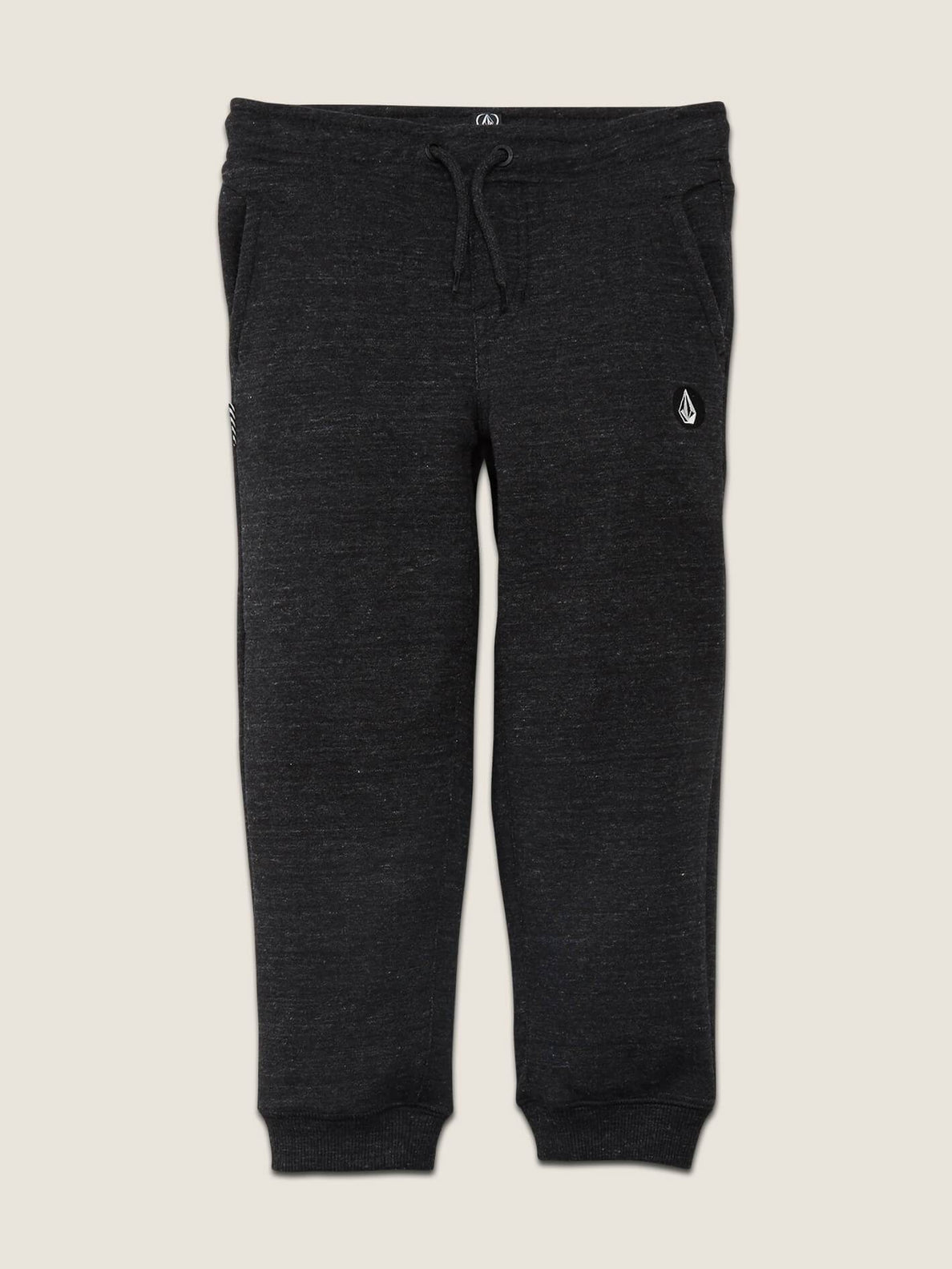 Little Boys Single Stone Fleece Pants In Sulfur Black, Front View