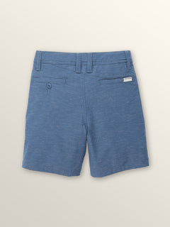 Little Boys Frickin Surf 'N Turf Slub Hybrid Shorts In Deep Water, Back View