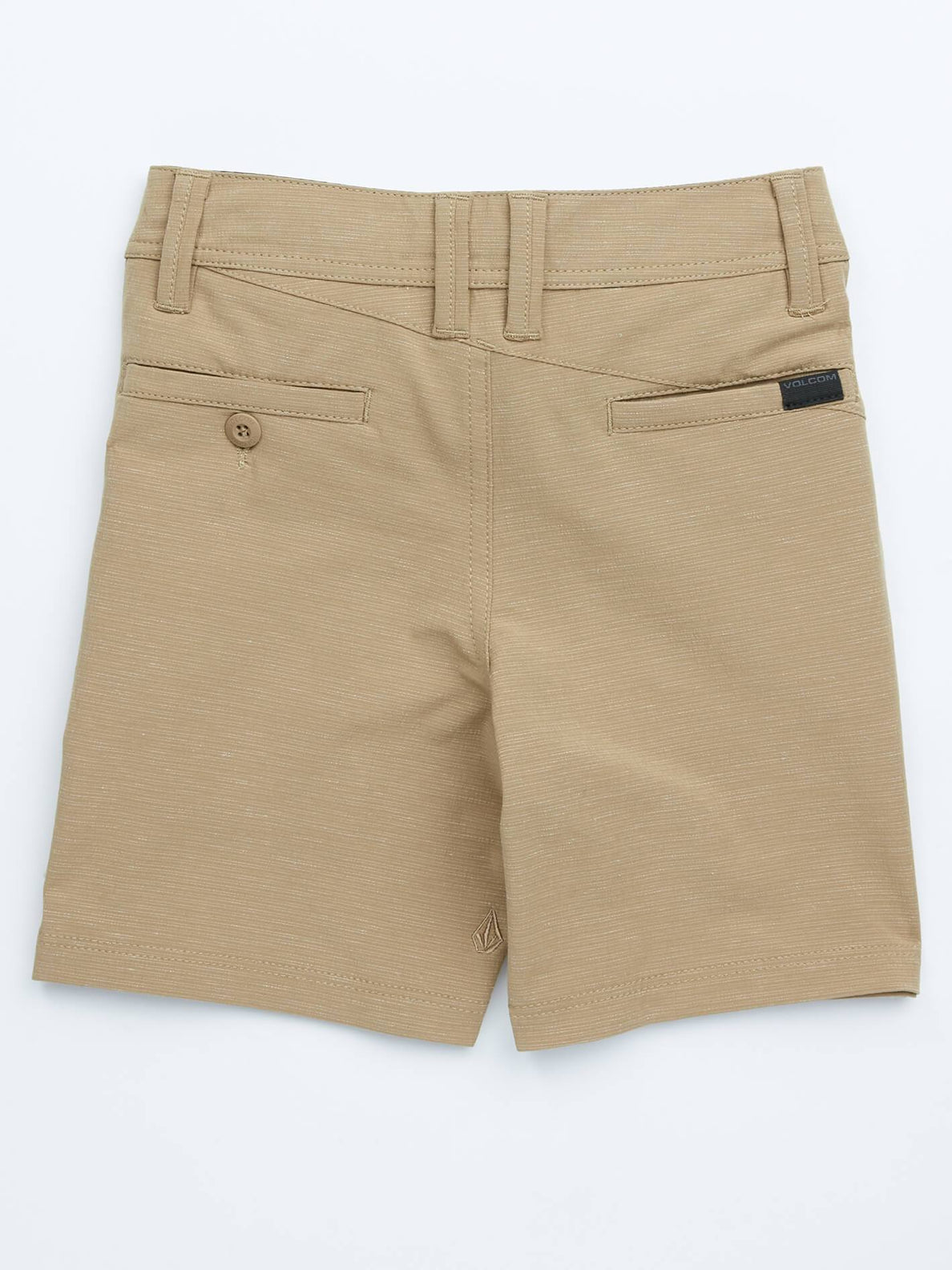 Little Boys Frickin Surf 'N Turf Slub Hybrid Shorts In Sand Brown, Back View
