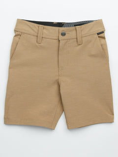 Little Boys Frickin Surf 'N Turf Slub Hybrid Shorts In Sand Brown, Front View