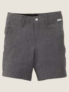 Little Boys Frickin Surf N' Turf Static Hybrid Shorts In Charcoal Heather, Front View
