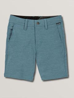 Little Boys Frickin Surf N' Turf Static Hybrid Shorts In Sea Navy, Front View