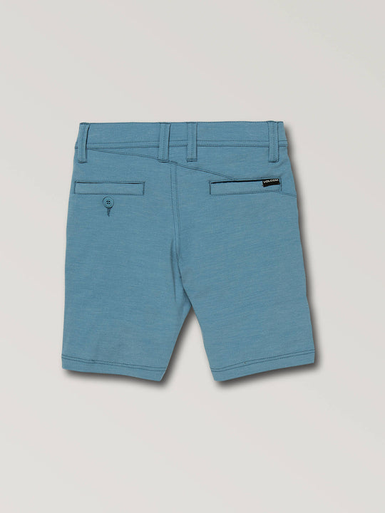 Little Boys Frickin Surf N' Turf Static Hybrid Shorts In Vintage Blue, Back View