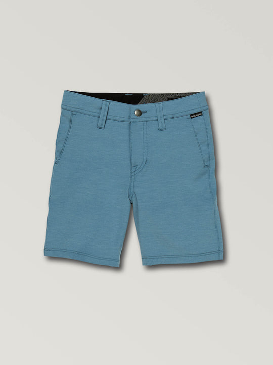 Little Boys Frickin Surf N' Turf Static Hybrid Shorts In Vintage Blue, Front View