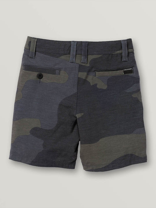 Little Boys Frickin Surf N' Turf Mix Hybrid Shorts In Dark Camo, Back View