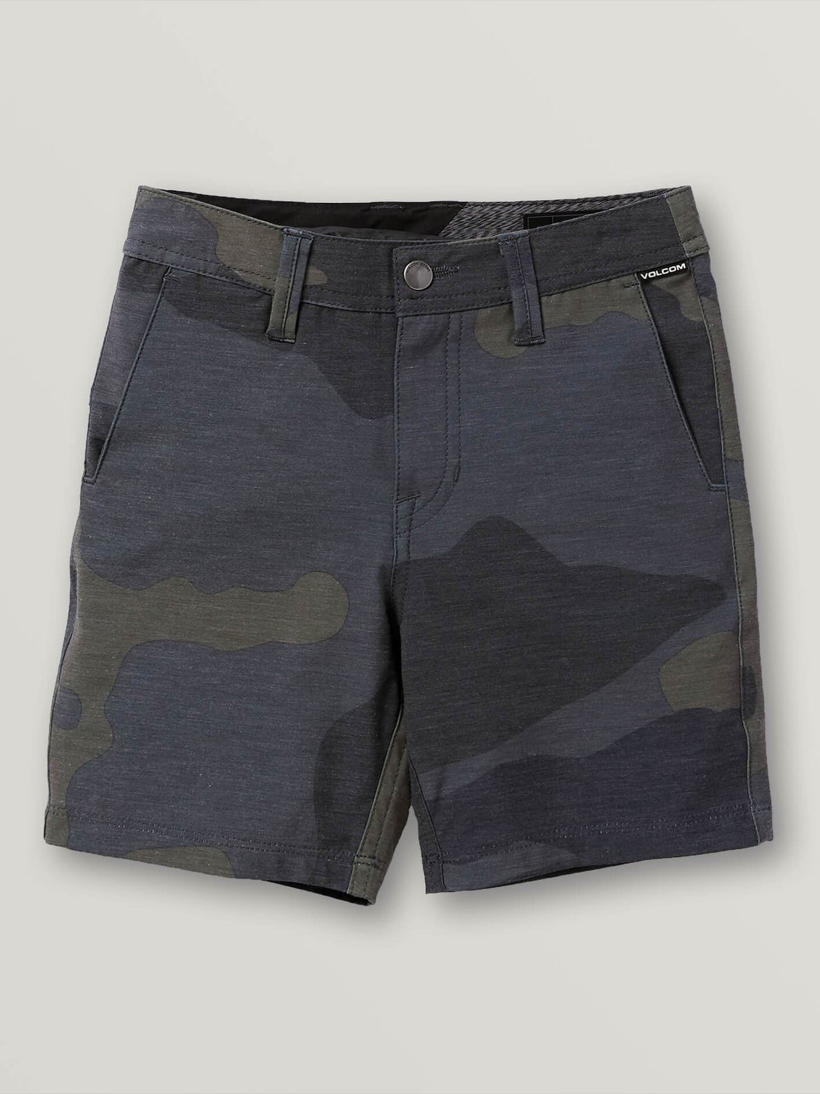 Little Boys Frickin Surf N' Turf Mix Hybrid Shorts In Dark Camo, Front View