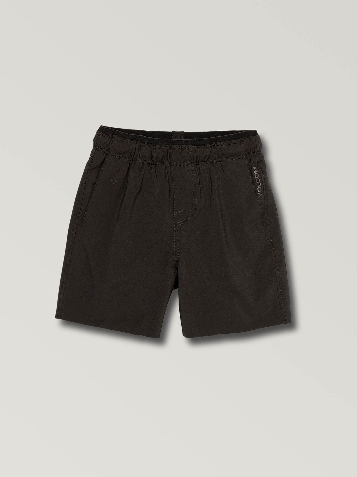 Little Boys Stone Lite Hybrid Shorts In Black, Front View