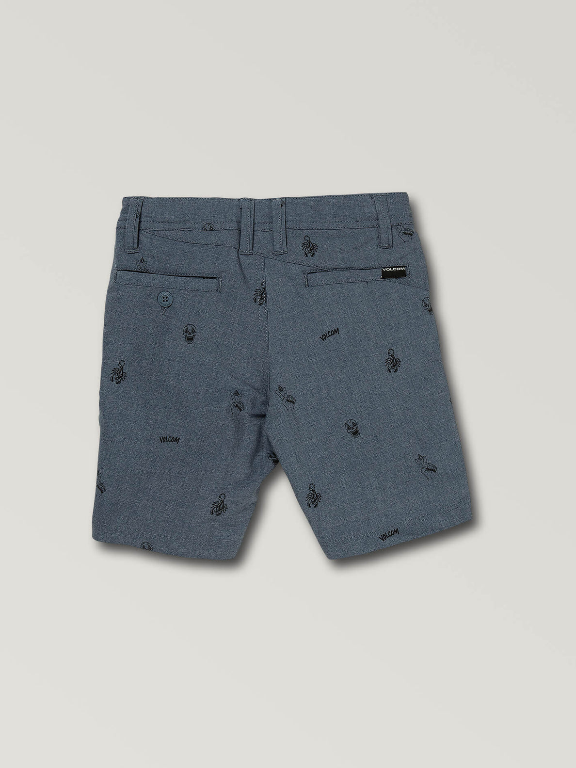 Little Boys Frickin Surf N' Turf Printed Hybrid Shorts In Deep Blue, Back View