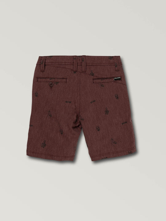 Little Boys Frickin Surf N' Turf Printed Hybrid Shorts In Wine, Back View