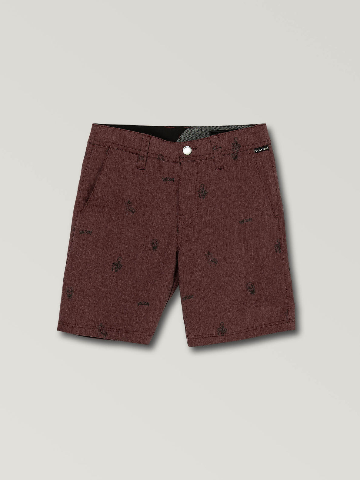 Little Boys Frickin Surf N' Turf Printed Hybrid Shorts In Wine, Front View