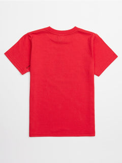 Little Boys Chill Face Tee In True Red, Back View