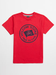 Little Boys Jolly Rebel Tee In True Red, Front View