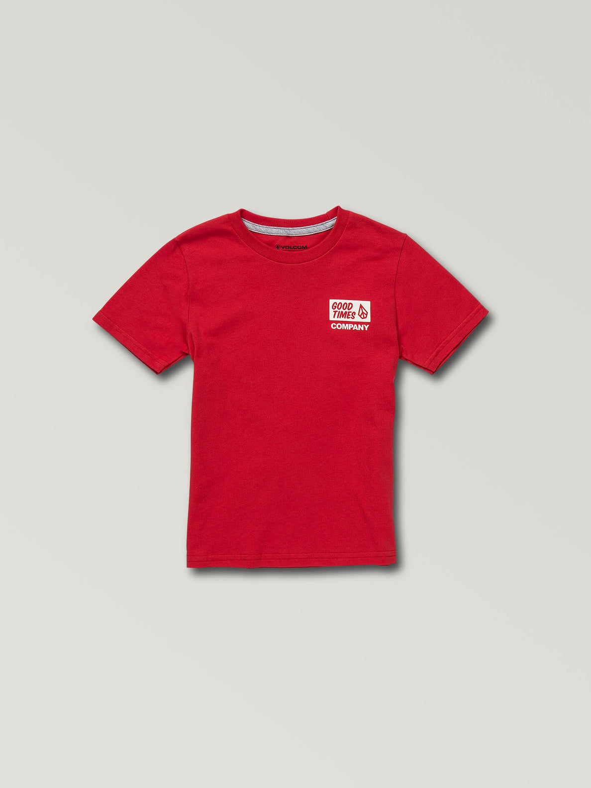 Little Boys Volcom Is Good Short Sleeve Tee In True Red, Front View