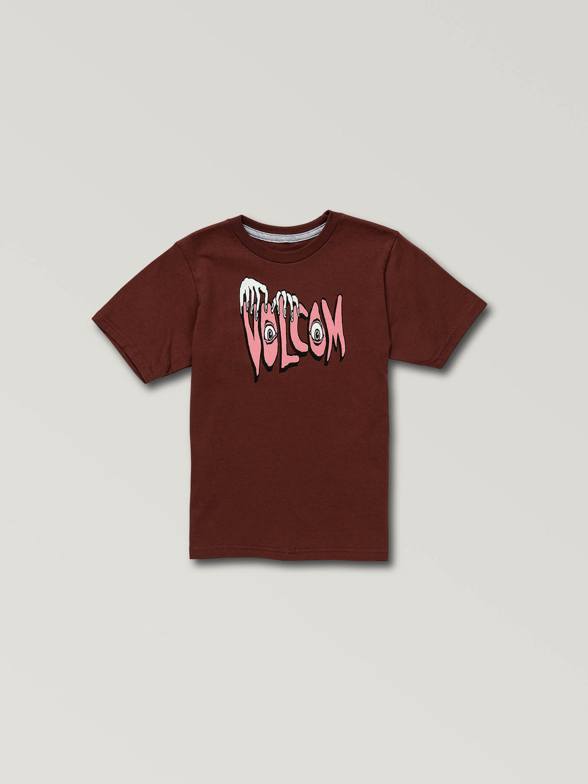 Little Boys Volcom Panic Short Sleeve Tee In Pomegranate, Front View