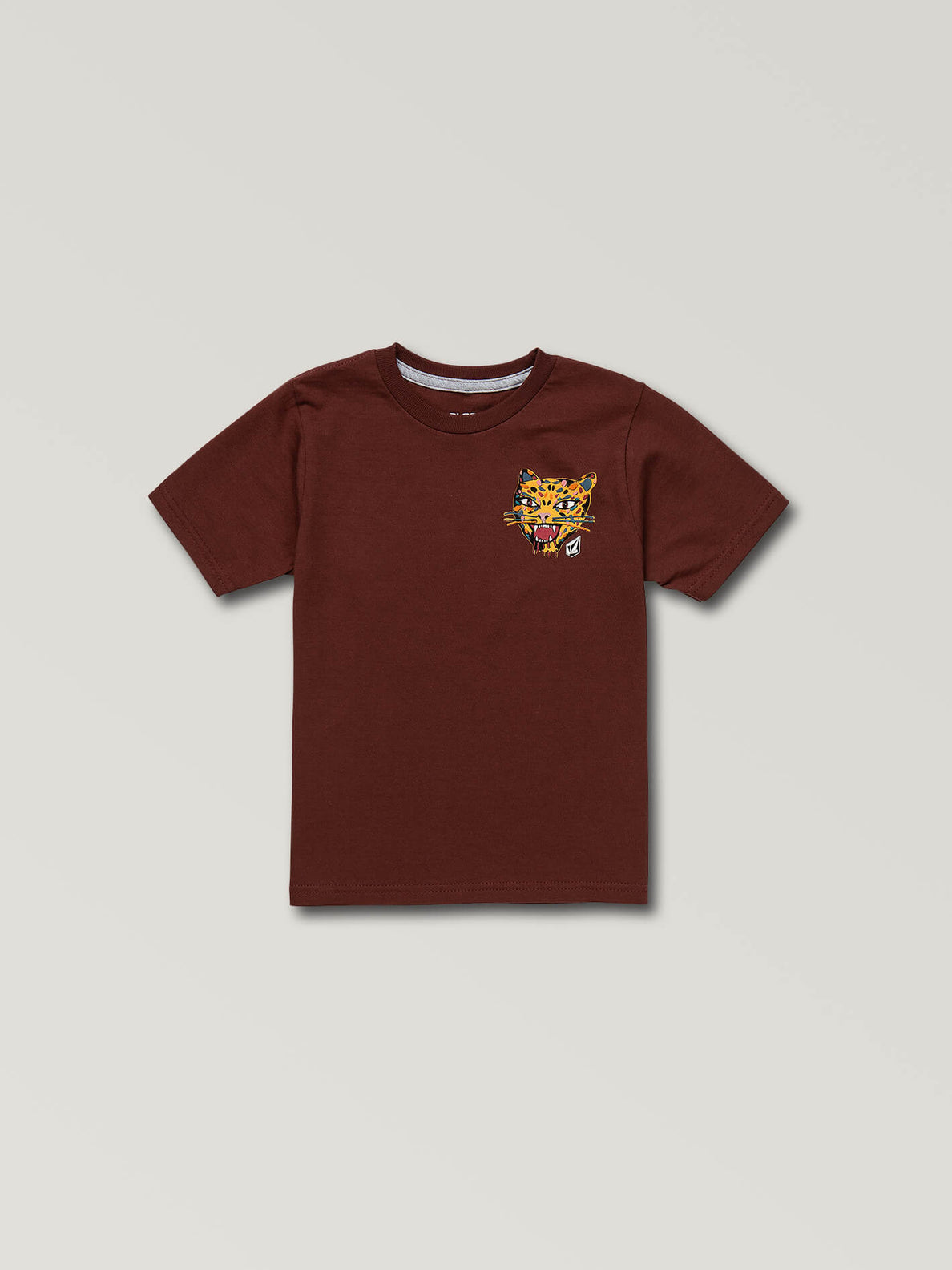Little Boys Ozzie Tiger Short Sleeve Tee In Pomegranate, Front View