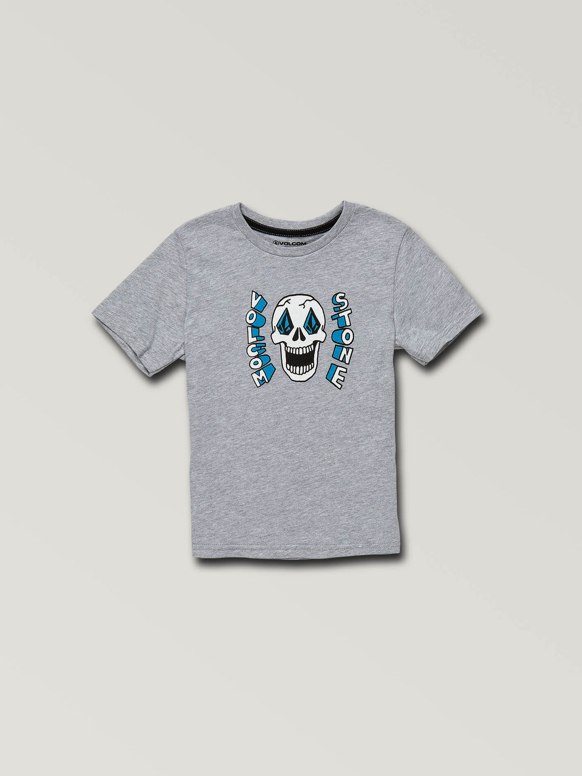 Little Boys Stone Eyes Short Sleeve Tee In Heather Grey, Front View