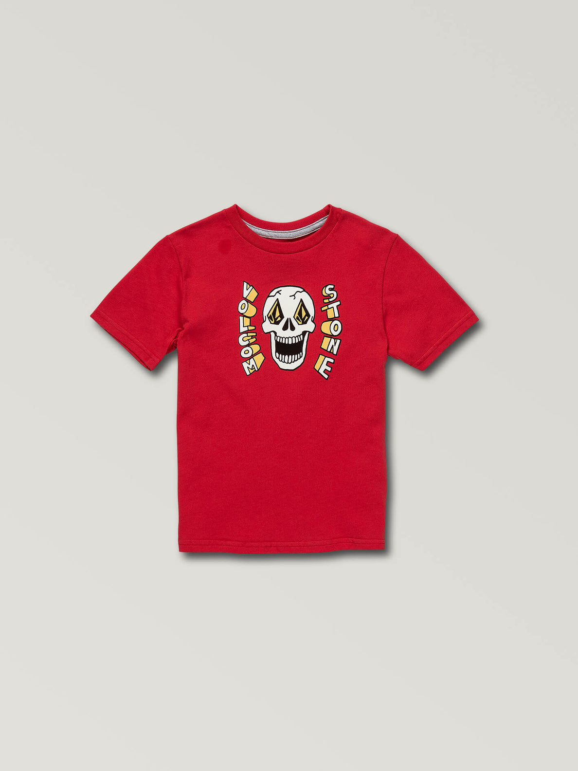 Little Boys Stone Eyes Short Sleeve Tee In True Red, Front View