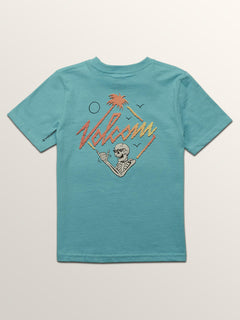 Little Boys Flexer Short Sleeve Tee In Blue Bird, Back View