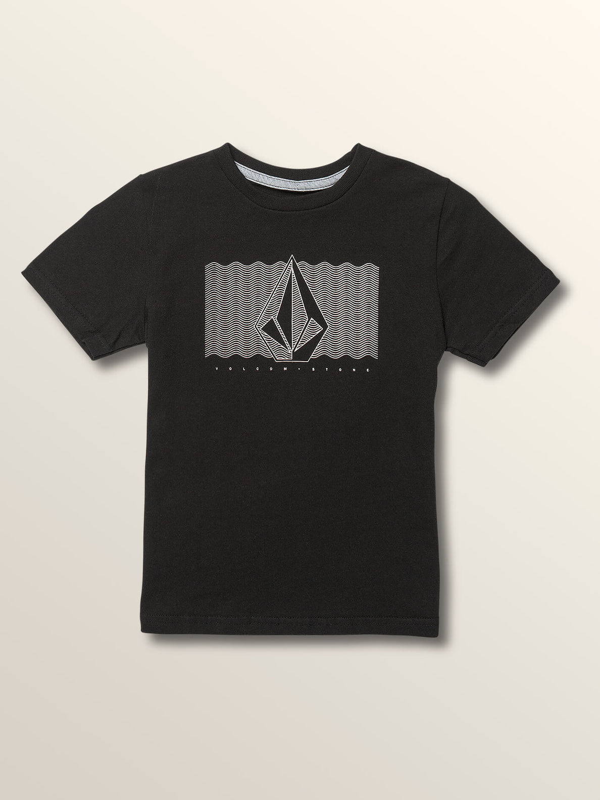 Little Boys Sound Waves Short Sleeve Tee In Black, Front View