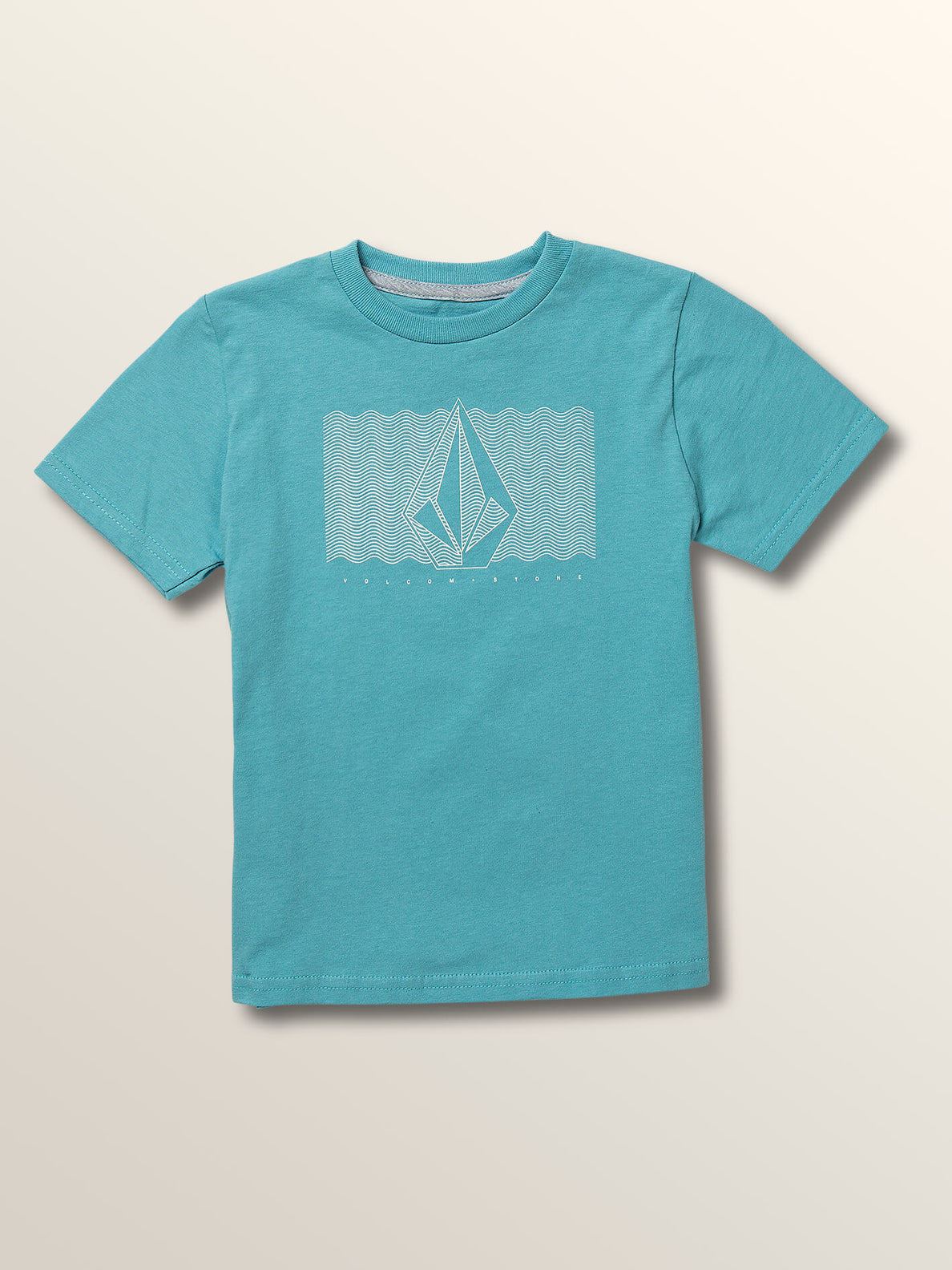 Little Boys Sound Waves Short Sleeve Tee In Blue Bird, Front View