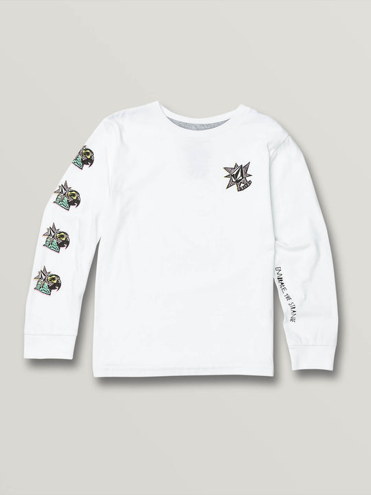 Little Boys Party Bird Long Sleeve - White