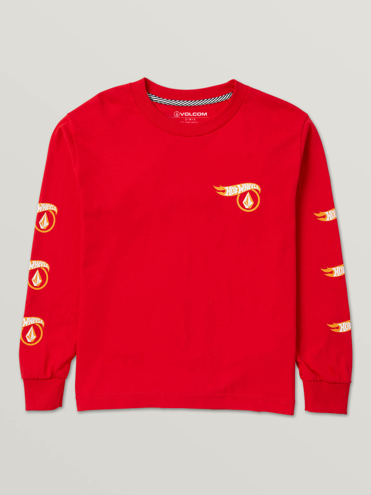 Little Boys Hot Wheels'Ñ¢ X Volcom Long Sleeve Tee In Red, Front View