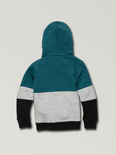 Little Boys Single Stone Division Pullover Hoodie In Teal, Back View