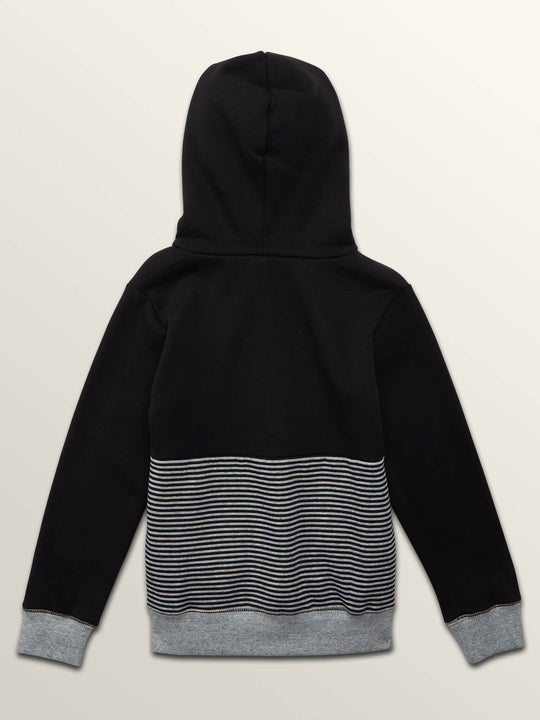 Little Boys Threezy Pullover Hoodie In Black, Back View
