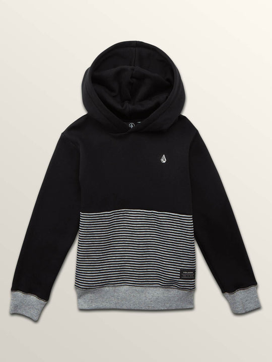 Little Boys Threezy Pullover Hoodie In Black, Front View