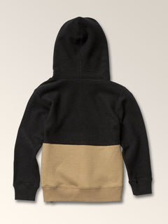 Little Boys Single Stone Sub Division Pullover Hoodie In Sand Brown, Back View