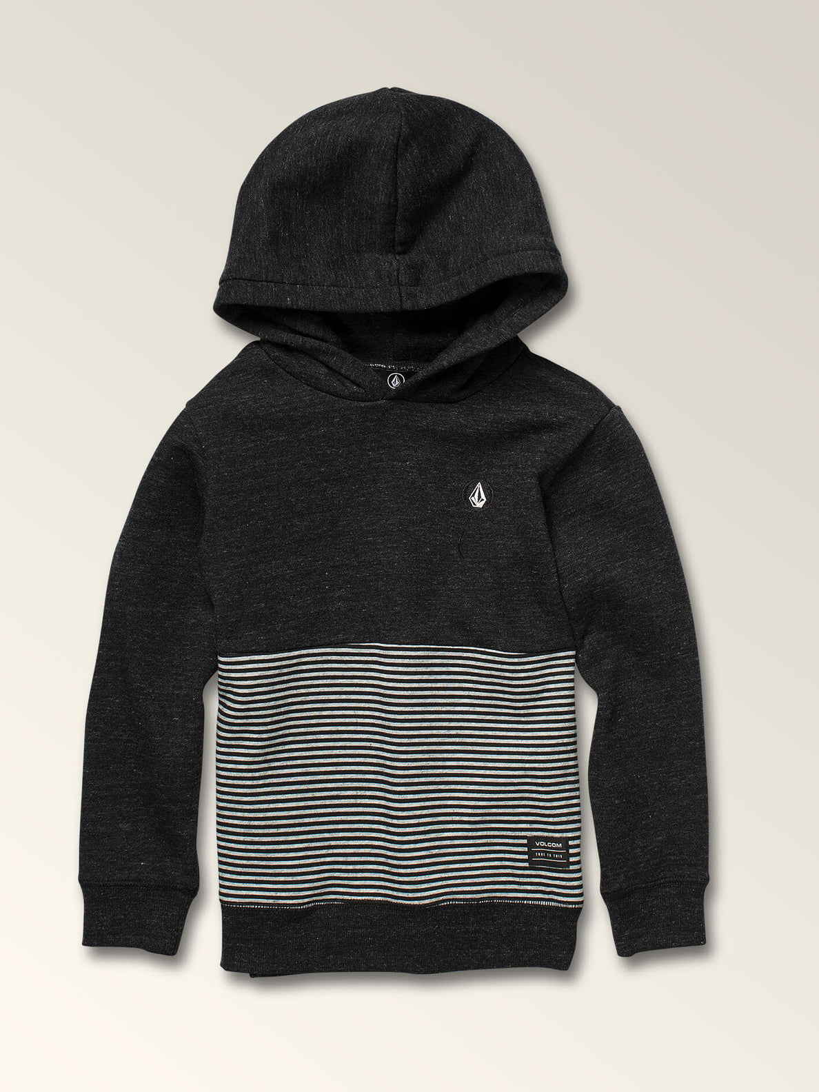 Little Boys Maddock Pullover Hoodie In Asphalt Black, Front View